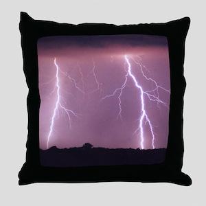Purple Lightning Throw Pillow