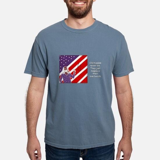 """Old Hippies Never Die"" Black T-Shirt"