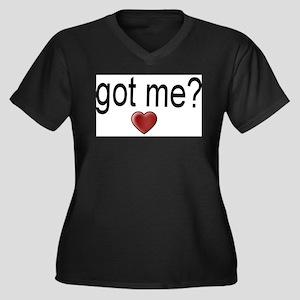 got me? Women's Plus Size V-Neck Dark T-Shirt
