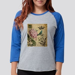 paris hydrangea butterfly fren Long Sleeve T-Shirt