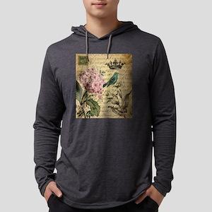 paris hydrangea butterfly fren Long Sleeve T-Shirt
