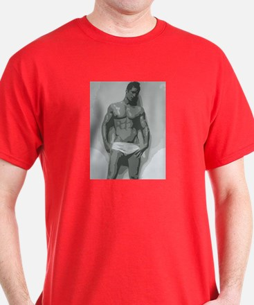 White - Nude Male T-Shirt