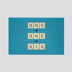 Scrabble One Plus One Six Rectangle Magnet