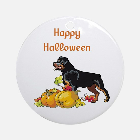 Happy Halloween Rottweiler Ornament (Round)