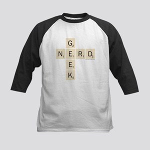 Scrabble Geek Nerd Kids Baseball Tee