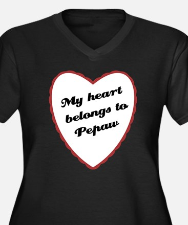 My Heart Belongs to Pepaw Women's Plus Size V-Neck