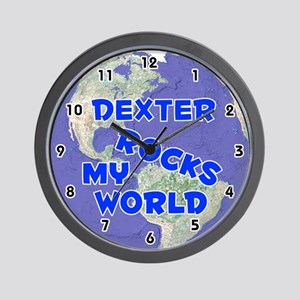Dexter Rocks My World (Blue) Wall Clock