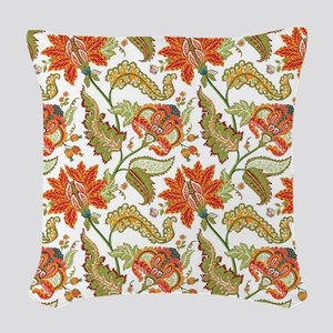 Indian Vintage Floral Pattern Woven Throw Pillow
