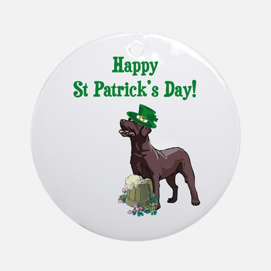 St Patrick's Day Labrador Ornament (Round)