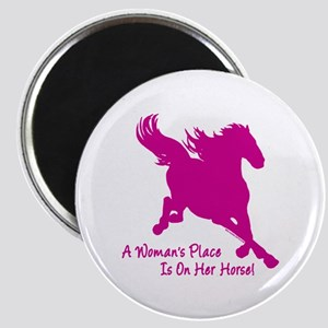 Woman's Place Is On Her Horse Magnet