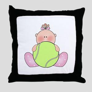 Lil Tennis Baby Girl Throw Pillow