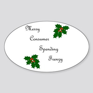 Merry Frenzy Oval Sticker