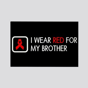 Red Ribbon: Red for my Brother Rectangle Magnet