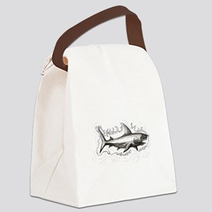 Shark Swimming Water Tattoo Canvas Lunch Bag
