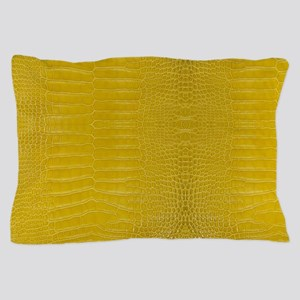 Yellow Alligator Skin Pillow Case