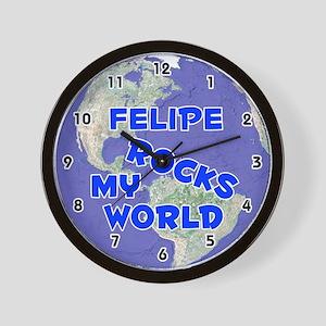 Felipe Rocks My World (Blue) Wall Clock