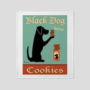 Black Dog Cookies Throw Blanket