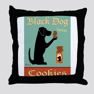 Black Dog Cookies Throw Pillow