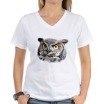 Great Horned Owl Face Women's V-Neck T-Shirt