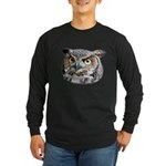 Great Horned Owl Face Long Sleeve Dark T-Shirt