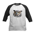 Great Horned Owl Face Kids Baseball Jersey