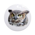 Great Horned Owl Face Ornament (Round)