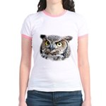 Great Horned Owl Face Jr. Ringer T-Shirt