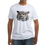 Great Horned Owl Face Fitted T-Shirt