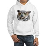 Great Horned Owl Face Hooded Sweatshirt