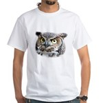Great Horned Owl Face White T-Shirt