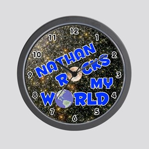 Nathan Rocks My World (Blue) Wall Clock