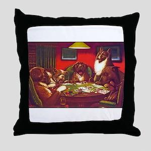 Dogs Playing Poker Waterloo Throw Pillow