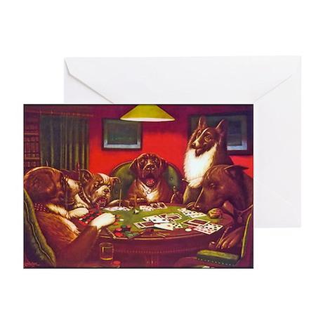 Dogs Playing Poker Waterloo Greeting Cards (Pk of