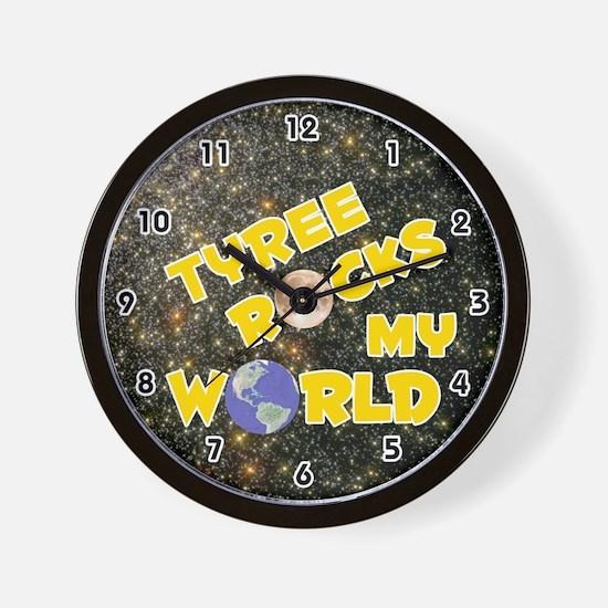 Tyree Rocks My World (Gold) Wall Clock