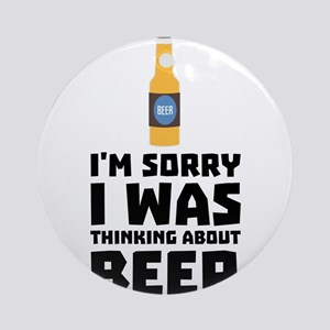 Thinking about Beer bottle C860x Round Ornament