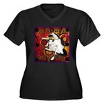 Cat Taurus Women's Plus Size V-Neck Dark T-Shirt