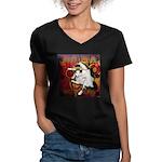 Cat Taurus Women's V-Neck Dark T-Shirt