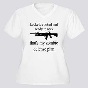 Zombie Defense Plan v2 Women's Plus Size V-Neck T-