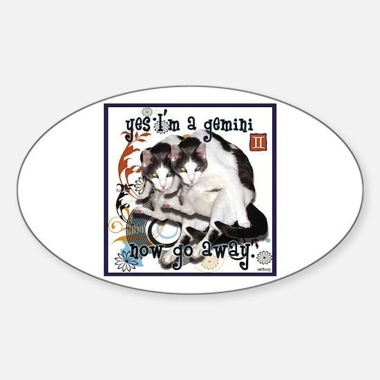 Cat Gemini Sticker (Oval)