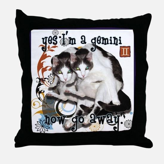 Cat Gemini Throw Pillow