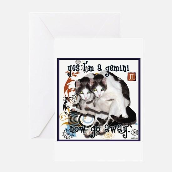 Cat Gemini Greeting Card