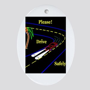 PLEASE! DRVE SAFELY Oval Ornament
