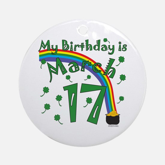 St. Patrick's Day March 17th Birthday Ornament (Ro