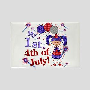 1st July 4th Girl Blue Rectangle Magnet
