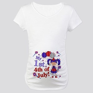 1st July 4th Girl Blue Maternity T-Shirt