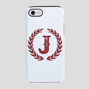 Rustic Red Monogram: Letter iPhone 8/7 Tough Case