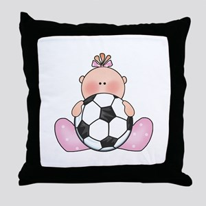 Lil Soccer Baby Girl Throw Pillow