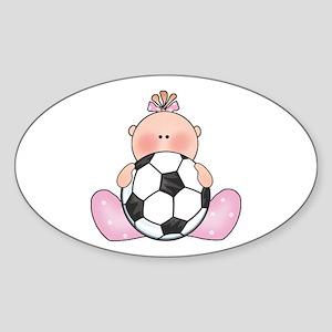 Lil Soccer Baby Girl Oval Sticker