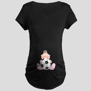 Lil Soccer Baby Girl Maternity Dark T-Shirt