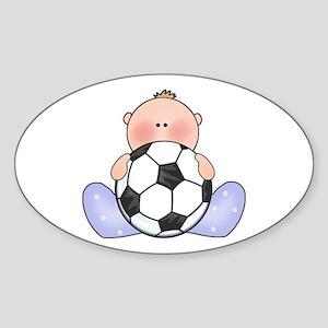 Lil Soccer Baby Boy Oval Sticker